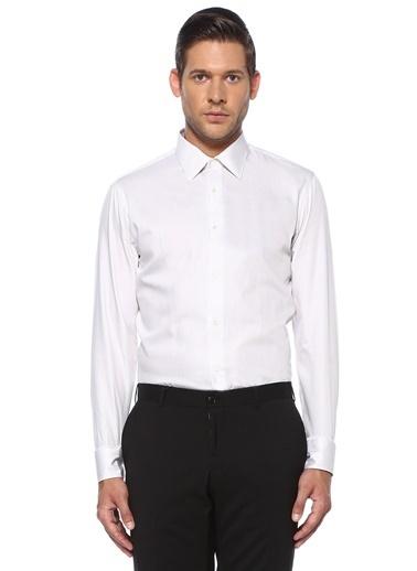 Pal Zileri Pal Zileri  Çizgili İngiliz Yaka Gömlek 101558453 Beyaz
